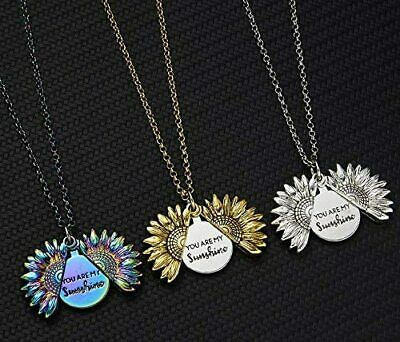 Sunflower Locket Necklace You Are My Sunshine Engraved Pendant Necklace Women • 5£