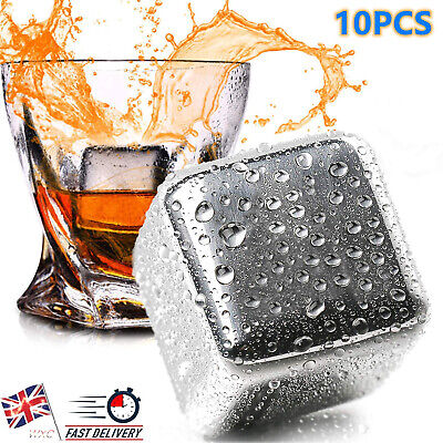 £11.50 • Buy Set Of 10 Stainless Steel Whisky Ice Stones Reusable Ice Cubes Cooling Rocks