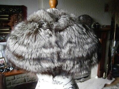Stunning Vtg 40s Real SILVER FOX Fur STOLE, Thick & Silky, Lovely Design, MINT! • 160£