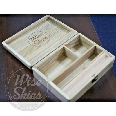 Wise Skies Large Wooden Rolling Box Rolling Paper Storage Stash Box Deluxe Box  • 16.99£