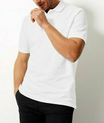 Marks And Spencer Regular Fit Short Polo T-Shirt In White Size L • 7.50£