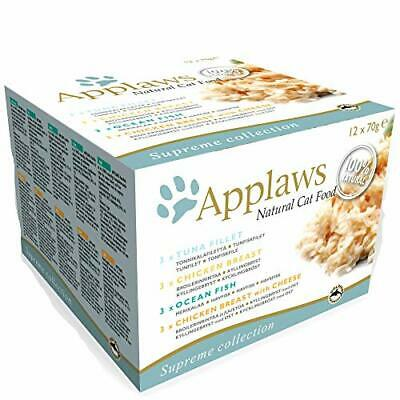 APPLAWS 100% Natural Wet Cat Food, Multipack Fish And Chicken, 70g (Pack Of 12) • 12.99£