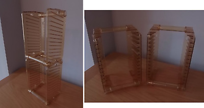 CD Storage Tower Rack Unit - Orange Plastic ~ Wall Mountable Or Freestanding • 9£
