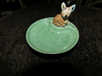 Collectable Wade Irish Porcelain Whimtrays Pin Tray & Baby Fawn Deer Whimsy • 12.50£