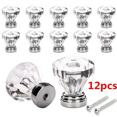 12PCS Crystal Glass Door Knobs Diamond Drawer Cabinet Furniture Handle Knob • 6.39£