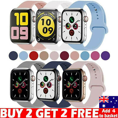 AU11.98 • Buy For Apple Watch IWatch Series 5 3 4 38/40/42/44mm SILICONE Sport Straps Bands
