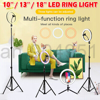 AU45.99 • Buy 10 /13''/18'' LED Ring Light + 1.6/2.1m Tripod Stand Dimmable Lighting Kit Live