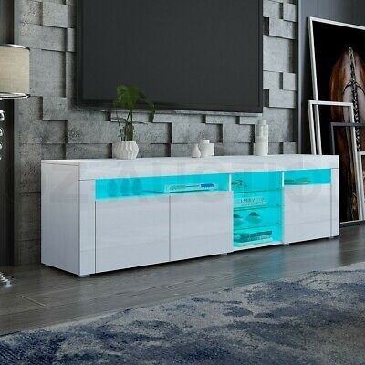 AU239.95 • Buy RGB LED 180CM TV Stand Cabinet Wooden 3 Doors Entertainment Unit Gloss White New