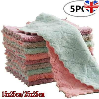 £5.81 • Buy 5pcs Tea Towels Kitchen Dish Cloths Cleaning Assorted Colour Design Fast Drying