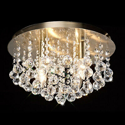 £15.99 • Buy Round Crystal Droplet Chandelier Classic Elegant Ceiling Light LED G9 Style
