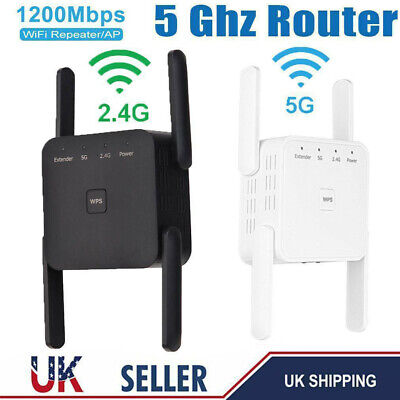 1200Mbps Dual-Band Wifi Extender Repeater Wireless Router Range Signal Booster • 23.79£