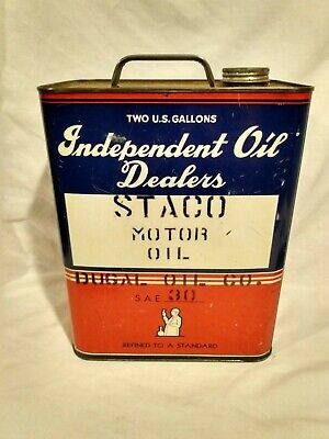 $ CDN64.59 • Buy Vintage 2 Gallon Independent Oil Dealers STACO MOTOR OIL Can Dugal Oil Co. Sign