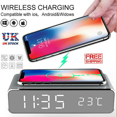 AU26.99 • Buy USB Digital LED Desk Alarm Clock With Thermometer Wireless Charger For Andriod
