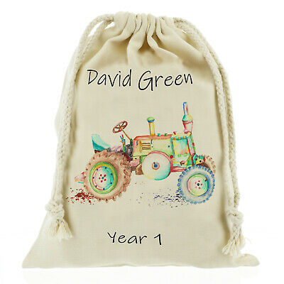 AU12.59 • Buy Personalised Tractor Sack, School Bag Games/ PE Kids - Customise With Name
