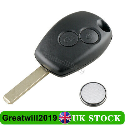 For Renault Clio Trafic Twingo Kangoo Wind 2 Button Car Key Fob Case + Battery • 5.99£