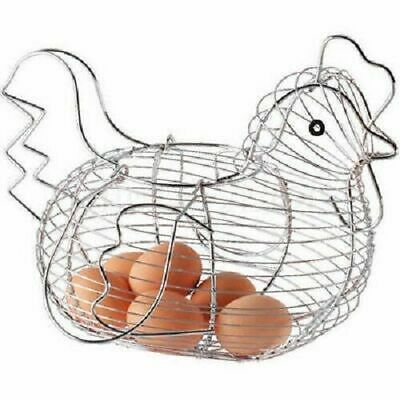 Chrome Wire Egg Storage Hen Chicken Shaped Basket Holder Display Rack Container • 11.50£