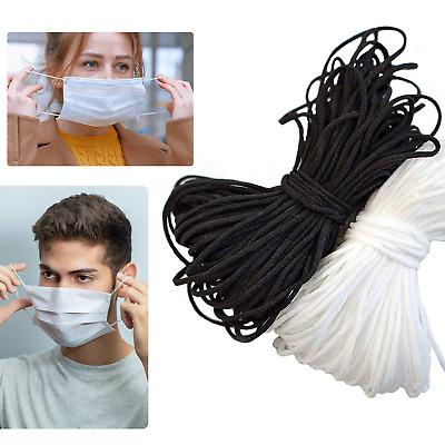 AU13.96 • Buy 10M-100M 3mm Elastic Cord SOFT BLACK & WHITE Band Strap Sewing For Face Mask