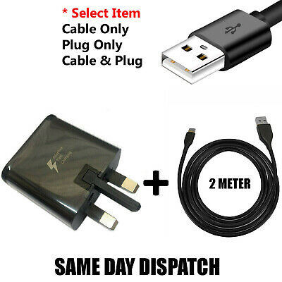Genuine Samsung Fast Charger Plug& 2M USB Type-C Data Cable For Galaxy Phone Lot • 2.89£