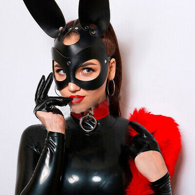 Rabbit Mask Bunny Leather Hood Cat Ear Halloween Masquerade Carnival Catwoman • 11.41£