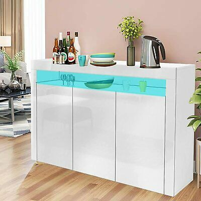 Cabinet 2/3 Doors Storage High Gloss Fronts Sideboard Display Cupboard LED Light • 114.59£