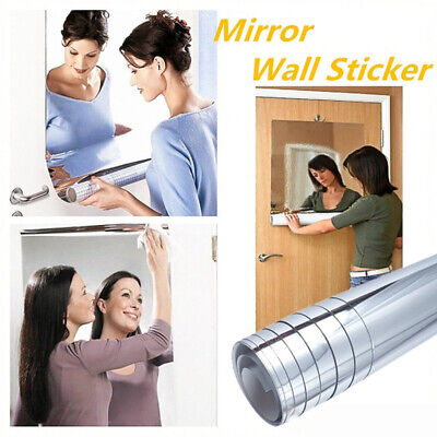 Mirror Tile Wall Stickers Square Self-Adhesive Bathroom Home Decor Stick On Art • 4.79£