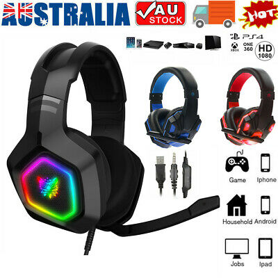 AU36.65 • Buy Gaming Headset Pro Gamer 3.5mm+USB MIC LED Headphones For PC Laptop PS4 Xbox One