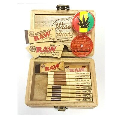 Wise Skies Small Wooden Rolling Box Stash Box Raw Rolling Papers Raw Tips Wide  • 14.99£