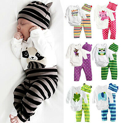 Newborn Baby Boys Girls Long Sleeve Romper Tops + Pants + Hat Outfit Clothes Set • 10.49£