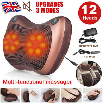 Electric Lumbar Neck Back Massage Pillow Massager 12 Kneading Pad Heat Home Car • 25.59£