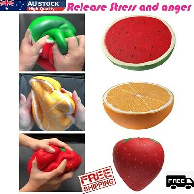 AU24.19 • Buy Anti-stress Reliever Squishy Squeeze Watermelon Orange Strawberry Fun Large Toys