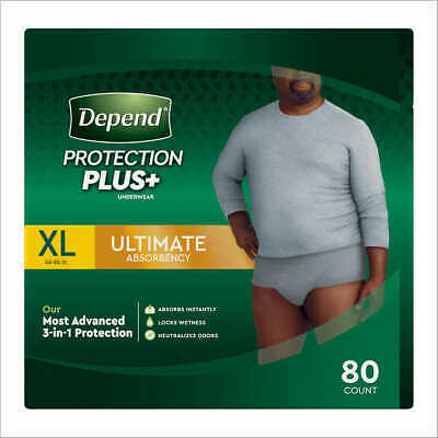 $64.99 • Buy Depend Protection Plus Ultimate Underwear For Men XL 80 Count