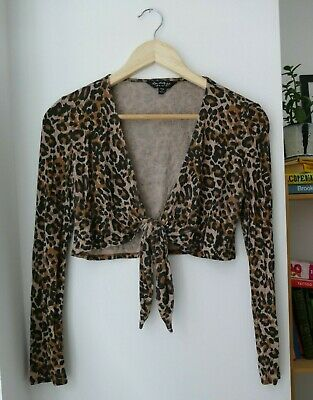 Leopard Print Top / Tie Front / Plunge / Size 6 / Fitted / Crop / Never Worn • 2.88£