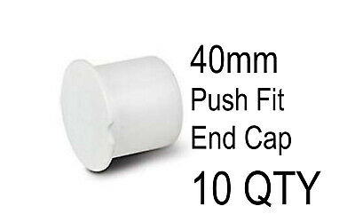 10 X 40mm Push Fit Waste Socket Plug White End Cap Stop Pipe Water Blanking  • 8£
