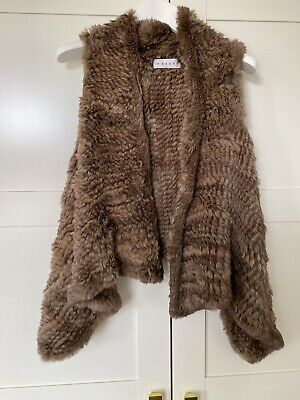 £80 • Buy Knitted Rabbit Fur Gilet Waistcoat - Brown Colour One Size