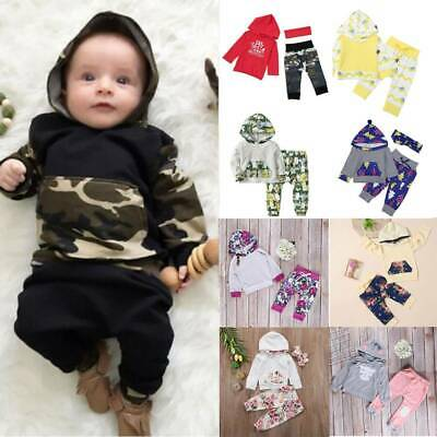 Baby Boys Girls Winter Hooded Sweatshirt Top + Pants Casual Clothes Outfit Set • 9.79£