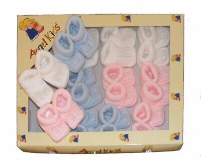 Baby Unisex Knitted Cable Booties Pink Blue White Traditional Spanish Style • 2.65£