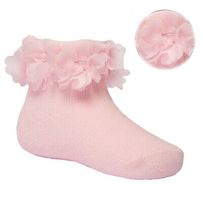 £3.79 • Buy Baby Girl Pink Lace & Flower Ankle Socks Traditional Spanish Frilly Style