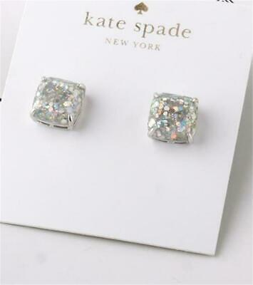 $ CDN34.35 • Buy Kate Spade New York Mini Small Square Stud Earrings Opal Glitter Silver
