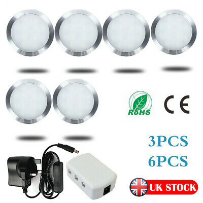 3/6 Packs Under Cabinet Lighting Kit LED Kitchen Counter Closet Puck Light Lamp • 10.79£