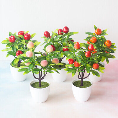 £3.46 • Buy Artificial Fruits Tree Bonsai Potted Miniascape Wedding Party Home Office Decor