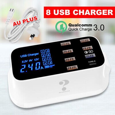 AU35.95 • Buy 8 Ports Multi USB Charging Station QC 3.0 Type-C Desktop Phone Charger Dock Hub