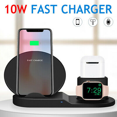 AU51 • Buy 3-in-1 Wireless Qi Fast Charger Dock Stand For AirPods & Apple Watch And IPhone