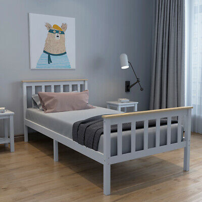 Single Bed Frame In Grey Pine Bar Modern 3ft Wooden Frame Fits Single Mattress  • 51.99£