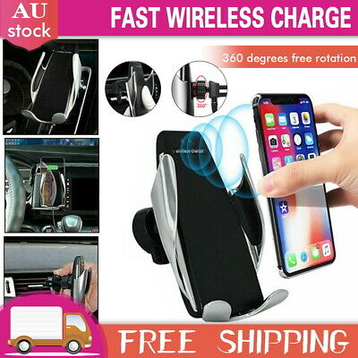 AU16.99 • Buy Qi Wireless Car Charger Mount Phone Holder Rack Automatic Clamping Smart Sensor