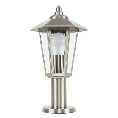 Modern Outdoor Brushed Chrome  Glass Post Top Lantern Wall Light Fitting IP44 • 19.99£