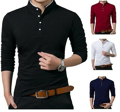 Men's Grandad Shirts Polo Shirt Long Sleeve Mandarin Collar Slim Fit Pique PL14 • 11.99£