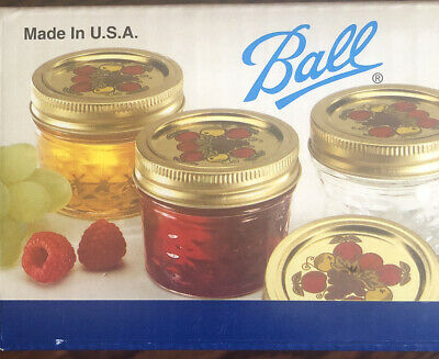 $29.99 • Buy Ball Jelly Jars Crystal Quilted 4 Oz Band Decorative Dome Lids And Jar Labels 12