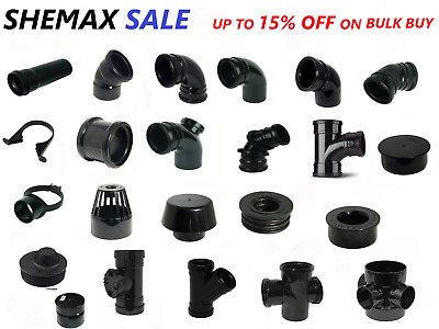 110mm Soil Pipe Black And Ring Seal Fittings UPVC (4 ) For Both EXT & INTER • 1.50£