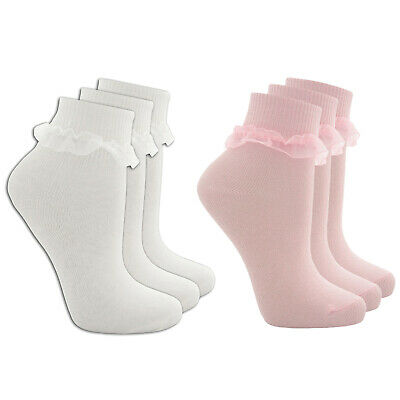 Girls Kids Socks Frilly Ankle Cotton Rich White Pink School Soft 3 Pack • 3.49£