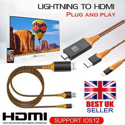 Lighting To HDMI CABLE For IPhone 7 8 X XS IPad AV TV Adapter 1080p USB Charger • 7.59£